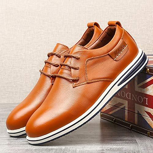 Lxla color Para Negocios Hombres 9 Casuales 5 Uk De Tamaño Us 5 Antideslizantes Con Zapatos Negro 8 Cordones Cuero Brown Hombres rqPr1