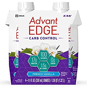 EAS AdvantEDGE Carb Control Protein Shake French Vanilla Ready-to-Drink, 17 g of Protein 11 fl oz Bottle, 24 Count