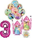 Disney Princess Party Supplies 3rd Birthday Balloon Bouquet Decorations with 8 Princesses
