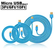 Pepiya 3Pack 3Ft/6Ft/10Ft Premium Braided Aluminum Gold Plated High Speed Micro USB 2.0 Charging Sync Data Cable Andriod Charger Cord for Samsung Galaxy S7 S6 Edge S5 S4 Note 4 5 Tab S, Moto G X,LG HTC Huawei (Blue)
