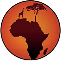 Printing Round Rug,African Decor,Safari Map with Continent Giraffe and Tree Silhouette Savannah Wild Design Mat Non-Slip Soft Entrance Mat Door Floor Rug Area Rug For Chair Living Room,Orange Brown