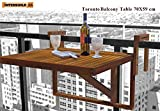 Interbuild Toronto Balcony/ Deck Table 28'' x 24'', Foldable, for Railings