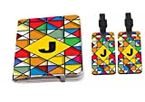 Rikki Knight Letter J Monogram Vibrant Colors Stained Glass Design Passport Holder with slots for Travel documents with 2 matching (1-sided) Luggage Identifier Tags