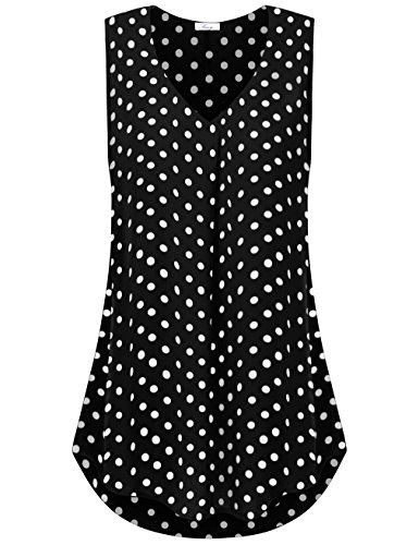 FINMYE Tank Tops for Women Plus Size,Polka Dot Blouses for Women Comfy Daily Wear Black PD (Plus Polka Dot)