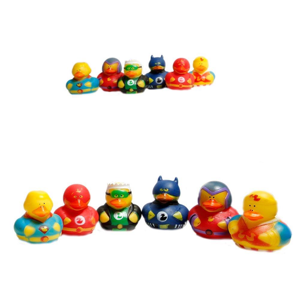 Amazon.com: Fun Express Super Hero Rubber Duck Duckies Party Favors ...
