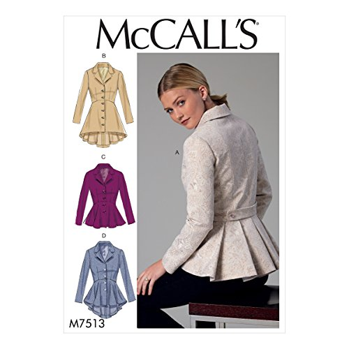 McCall's Patterns M7513 A5 Misses' Notch-Collar, Peplum Jackets, Size 6-14 (7513) by McCall Patterns