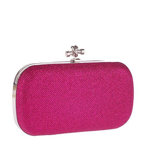 LINNBER - Cartera de mano de Satén para mujer rosa roja