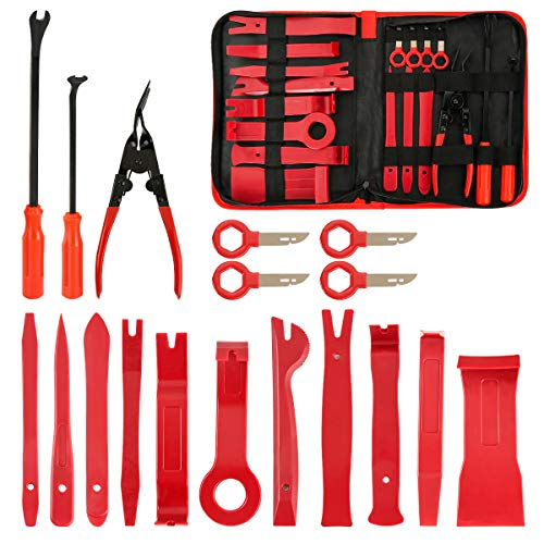 FXWSKY 18Pcs Auto Trim Removal Tool Kit, Auto Upholstery Tools Fastener Remover Car Panel Removal Trim Clip Plier Set with Storage Bag ()