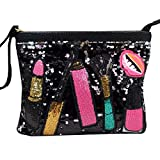 Ofila Women's Dazzling Sequins Clutch Bag Purse Zipper Shoulder Cross Body Bag Wristlet Handbag Black