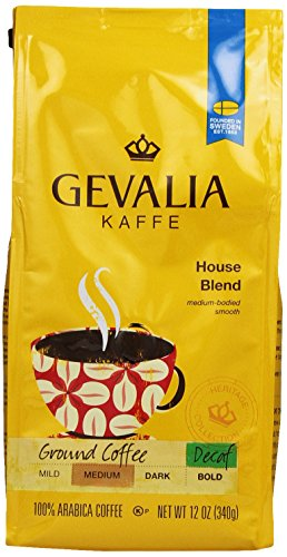 GEVALIA House Blend, Decaf, Ground, 12 Ounce, 6 Pack