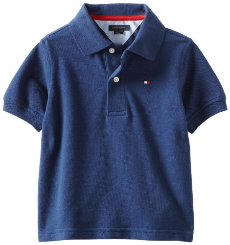 Tommy Hilfiger Big Boys' Short Sleeve Ivy Polo Shirt,Velvet Blue,Large - Shirt Velvet Big