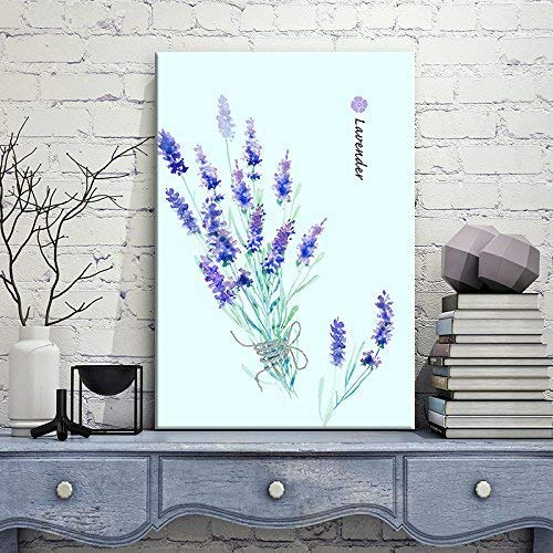 Watercolor Style Blue and Purple Lavender Flowers