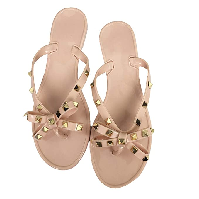 ec94502ed Mtzyoa Women Stud Bow Flip-Flops Sandals Beach Flat Rivets Rain Jelly Shoes  Nude