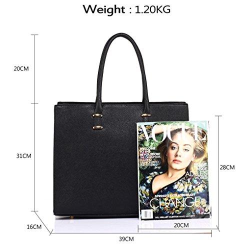 Leather A4 Sale Women's 319 Large Folder Size Bags College LeahWard Tote Clearance Handbag Black Faux Plain 8PqAS5xW5