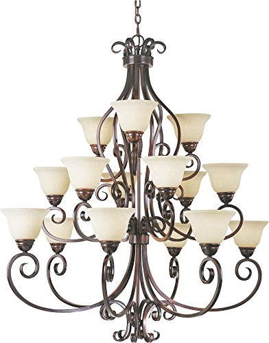 Maxim 12209FIOI Manor 15-Light Chandelier, Oil Rubbed Bronze Finish, Frosted Ivory Glass, MB Incandescent Incandescent Bulb , 40W Max., Dry Safety Rating, Standard Dimmable, Opal Glass Shade Material, Rated (Manor Oil Rubbed Bronze Chandelier)