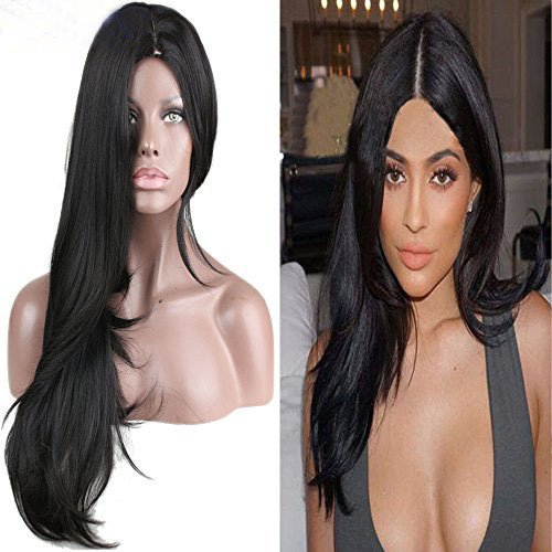 Eseewigs - Peluca de pelo largo y liso con aspecto natural, resistente al calor, totalmente sintética, de hermoso color negro natural, con 130% de alta densidad, para mujer. Qingdao Esee Hair Co. Ltd