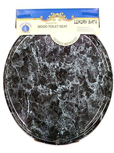 Round Standard Veneer Black Marble Wood Toilet Seat Closed Front Lid