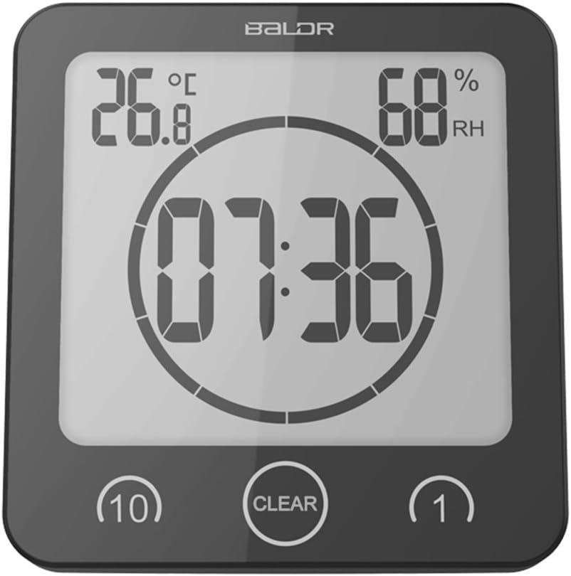 Shower clock-BALDR Bathroom LCD Water Resistant Shower Clock, Black