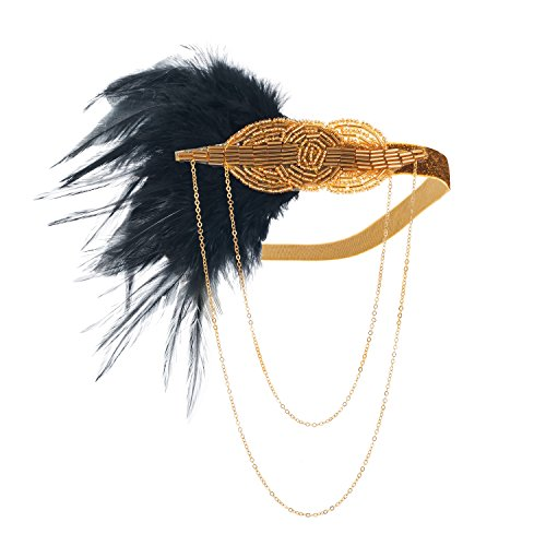 (LONGBLE Women's Vintage 1920s Headband Black Flapper Feather with Gold Beaded and String Chain Decor Art Showgirl Headpiece Party Headwear Costume Ball Headdress (Black and Gold))