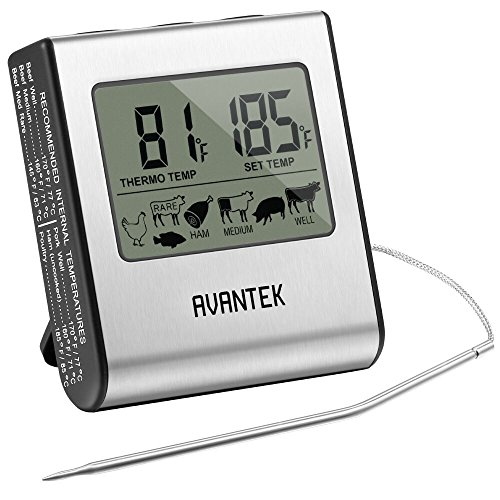 AVANTEK Grill Thermometer Barbecue digitaler Bratenthermometer mit LCD-Bildschirm | Rostefreie Stahlsonder und Kabel mit Stahlnetzmantel | Ausklappbarer Ständer und Magnet