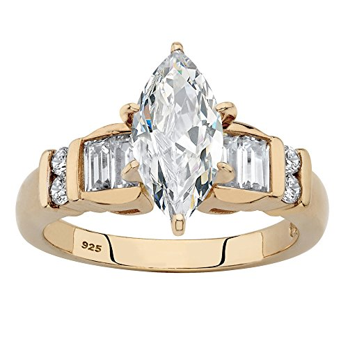 - 14K Yellow Gold over Sterling Silver Marquise Cut Cubic Zirconia Engagement Ring Size 7