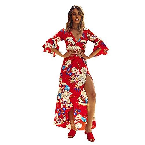 Vestidos Prom Boda Evening Moda Cóctel Fiesta Vestir de Party Floral Sexy Estampado Vacación Largo Fiesta Mujer para Túnica Manga Maxi la Casual Verano Playa Rojo Bohemia Ceremonia Elegante rwr1FRq