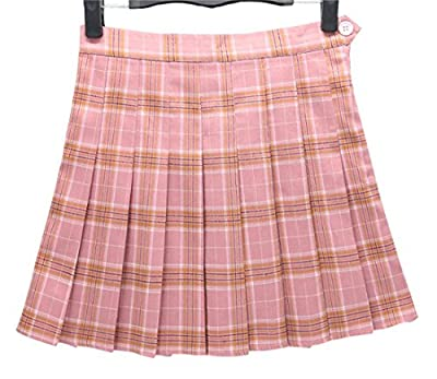 Gihuo Women's Schoolgirls High Waist A-Lined Pleated Plaid Mini Skirt