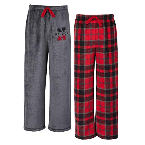 Nautica Boys 2-Pack Sleep Pants (Red Plaid, 8)