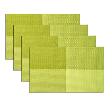 Placemat,U'artlines Grid Green Crossweave Woven Vinyl Non-slip Insulation Placemat Washable Table Mats Set of 4