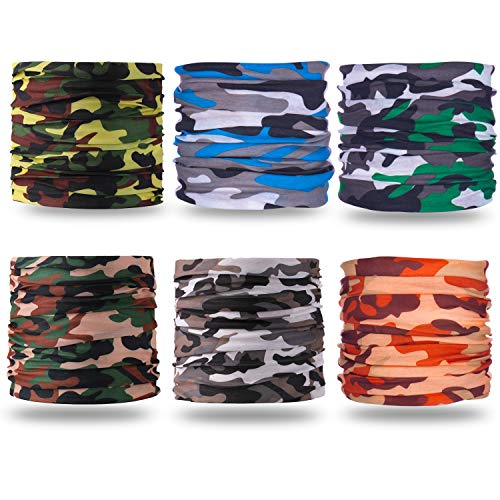 Gorecio Face Scarf Camo Headband Bandana Mask - Camouflage Headwear Multi Use Neck Gaiter Headwrap Balaclava Helmet Liner Dust Head Wrap Sport Sweatband Shield for Face Ski Men Cold Snowboard (Camo) ()