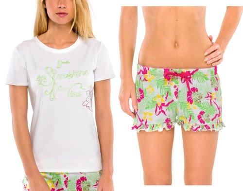 UNCOVER by SCHIESSER, Set: Damen Schlafanzugshose Shorty Jersey + Schlafshirt Kurzarm, weiss+floral, 141592+141590