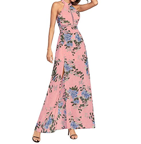Beach Fiori Maxi Sexy Long Dress Split Woman Stampato Summer Ahatech Backless Pink x7q4W64