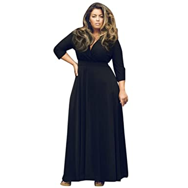 Kangma Plus Size New Women Long Loose V Neck Maxi Evening Party Ball Prom Gown Cocktail