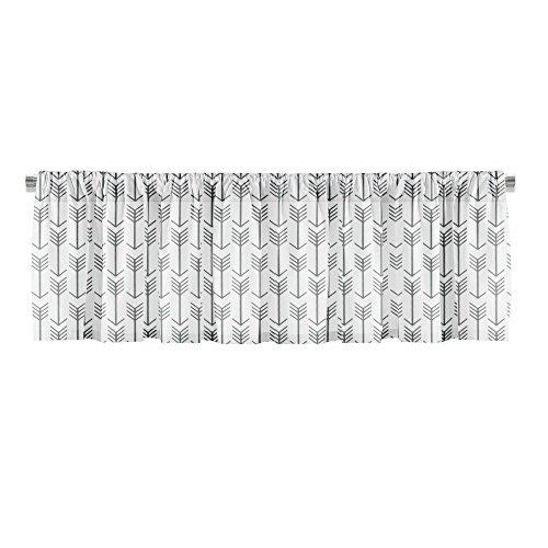 Appleberry Attic Window Treatment Curtain Valance Arrow, White & Grey Review