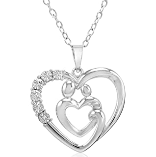 Amazon journey diamond mom and child heart pendant necklace in sterling silver mother and child diamond heart pendant necklace on an 18 inch chain aloadofball Image collections