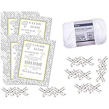 Yellow Grey Washing Line Baby Shower 20 Player Game Tape Measure How Big is Mummys Tummy