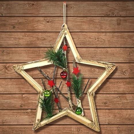 Bakaji perchero diseño estrella de madera con ramas y bolas ...