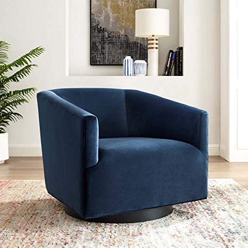 Modway EEI-3456-MID Twist Accent Lounge Performance Velvet Swivel Chair, Midnight Blue