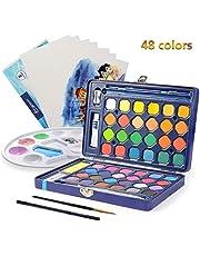 Ulikey 48 Color Kit de Pintura de Acuarela, Set de Pintura de Acuarelas Profesionales, Portatiles Set de Pinturas de Acuarela Sólida para Artistas Principiantes, Aficionados