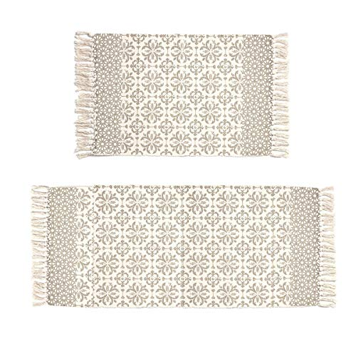 Pauwer Tan Moroccan Cotton Area Rug Set 2 Piece 2'x4.2'+2'x3' Machine Washable Printed Cotton Rugs with Tassel Hand Woven Cotton Rug Runner for Kitchen, Living Room, Bedroom, Laundry Room, Entryway (Woven Rug Runner)