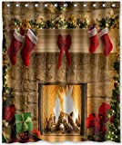 Yaoni Decration colletion Decor,Design Peaceful Christmas Eve Fireplace Shower Curtain