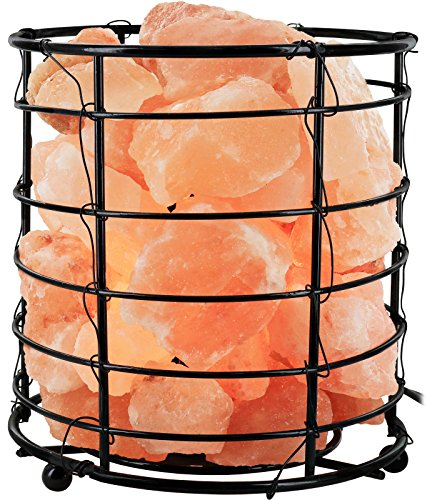 Greenco Hand Crafted Natural Himalayan Round Wire Basket Salt Lamp with Salt Chunks on Wooden Base with Electric Wire, Dimmer Control & Bulb