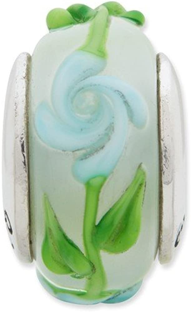 White Sterling Silver Beads Glass 13.64 mm 7.27 Reflections Green Blue Floral Hand-Blown Bead