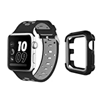 UMTELE Case and Band for Apple Watch, Silicone Replacement Strap with Ventilation Holes and Shock Resistant Bumper Cover for Apple Watch Nike+, Series 3/2/1