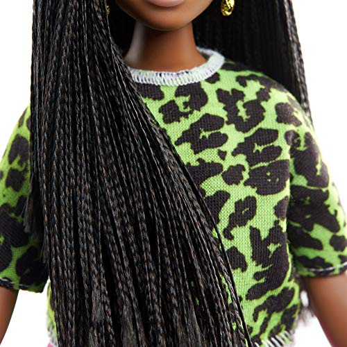 Barbie Fashionistas Doll #144 with Long Brunette Braids Wearing Neon Green Animal-Print Top, Pink Shorts, White Sandals & Earrings, Toy for Kids 3 to 8 Years Old