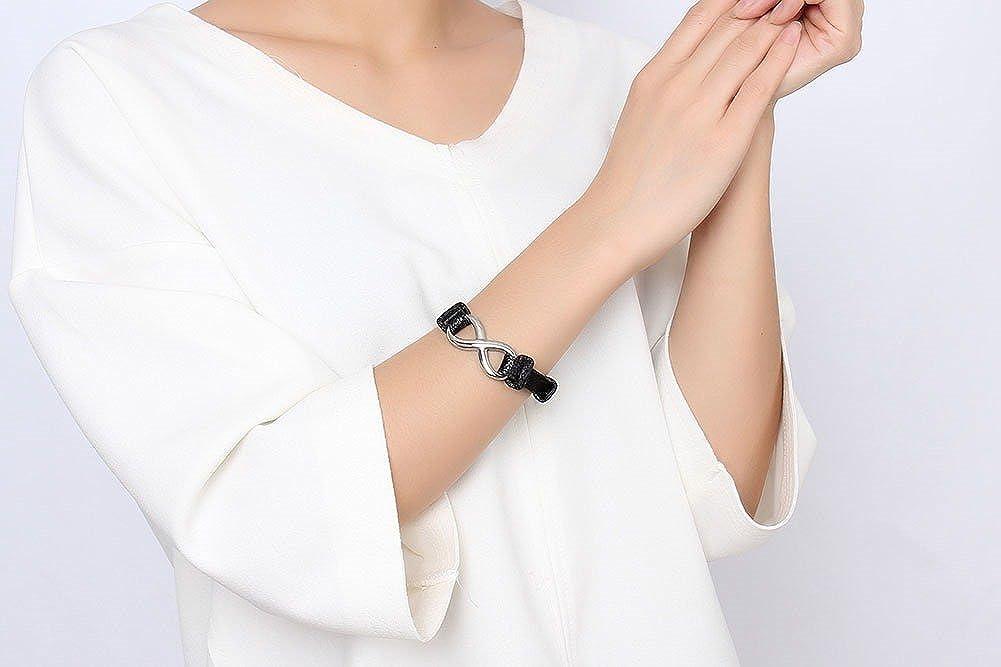 Joielavie Bracelet pour Homme Femme en Cuir Acier Inoxydable avec Signe Infini Infinity Chiffre 8 Fermoir Ceinture /Éternel Cha/îne de Main Bijoux