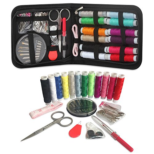Sewing Kit Travel, RVOKOMS Mini Sewing Kit for Adults, Kids, Traveler, Beginner, Emergency, Family Repair, Sewing Supplies with 12 Color Thread, Scissors, Needles, Tape Measure and Other Accessories