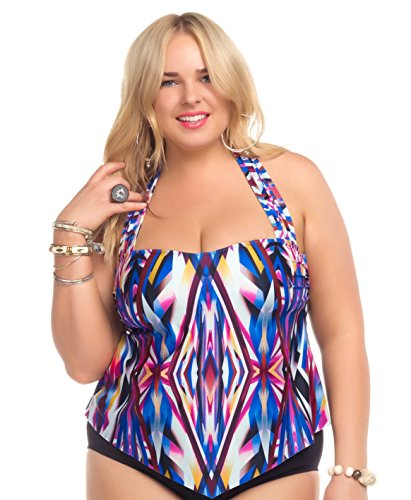 Becca-ETC-Womens-Plus-Size-Aura-Tankini-Swim-Top-0X-BeccaEtc16AuraMlt