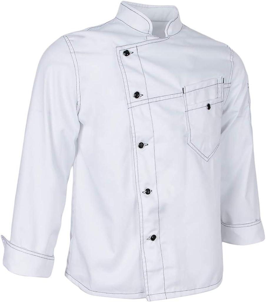 Baoblaze Veste de Cuisine en Jean Uniforme de Chef avec Aisselles Mesh pour Homme et Femme Manches Longues
