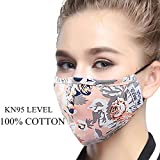 ZWZCYZ Masks Dust Mask Anti Pollution Mask PM2.5 4 Layer Activated Carbon Filter Insert Can Be Washed Reusable Masks Cotton Mouth Mask for Men Women (Medium(Women's), Pink Flower)